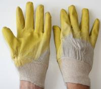 Working gloves from lateks, yellow