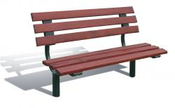 "OSLO SEAT - WOOD & STEEL - WOOD FINISH ""MAHOGANY FINISH"" 1500 mm"