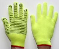 100% acrylic knit fluo-yellow gloves with PVC dots half slip, size 8 - 10.